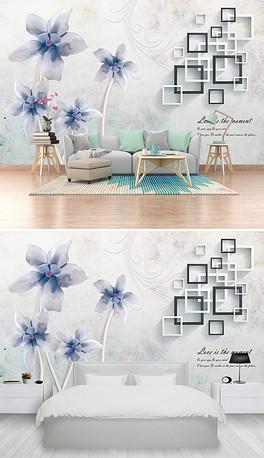 立体方块背景墙立体手绘花鸟背景墙现代简约-PSD手绘蝴蝶背景墙