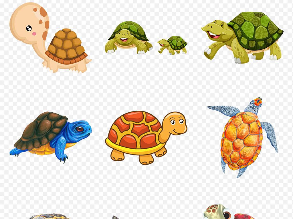 可爱卡通手绘乌龟海洋动物海龟海报素材背景图片png
