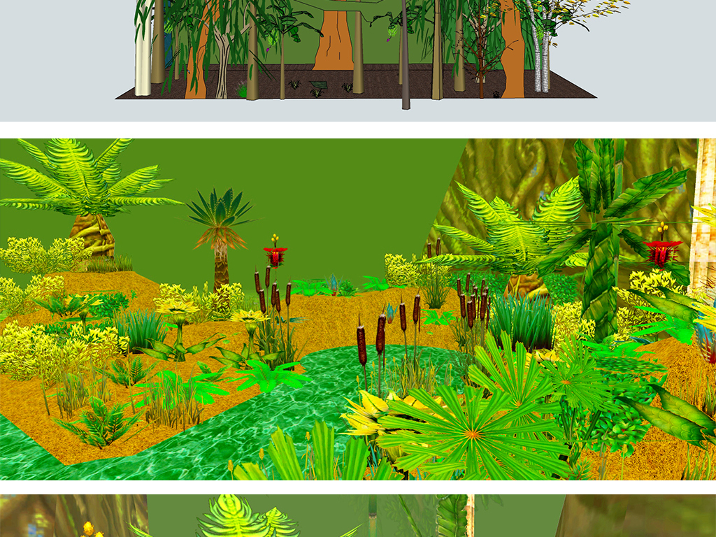 森林丛林树林热带雨林su模型设计图下载(图片32.08mb)