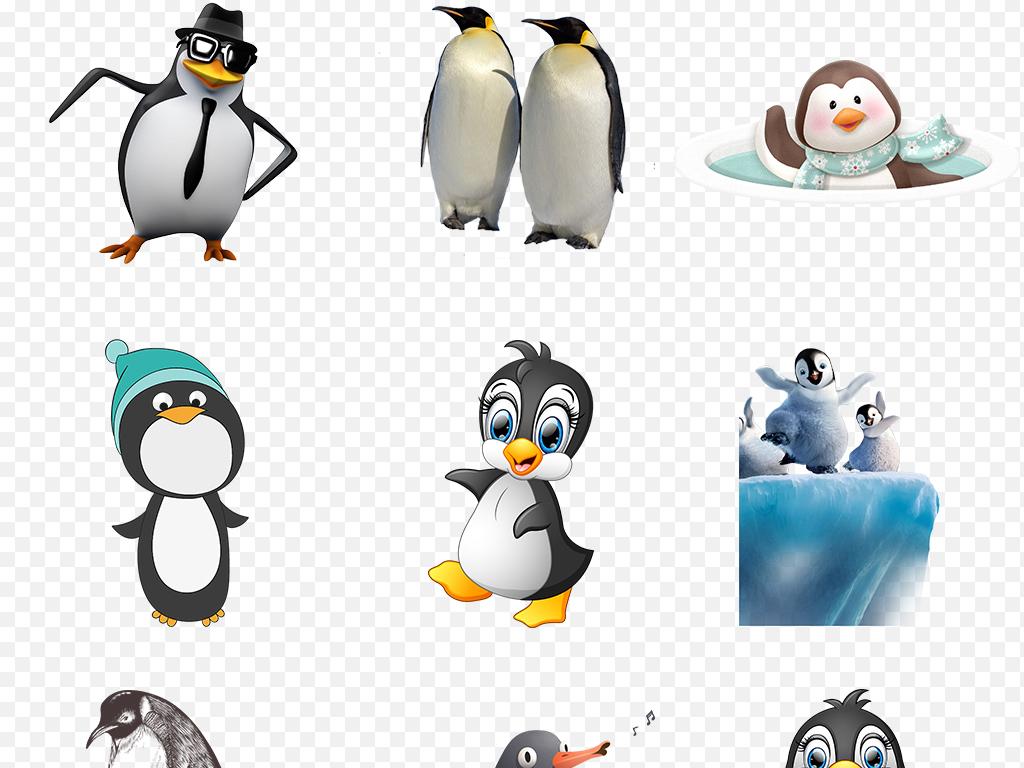 卡通手绘可爱企鹅冰河冰川海报素材背景图片png
