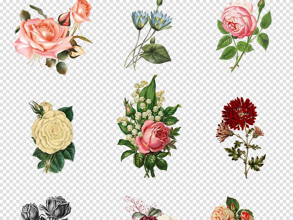 小花复古花纹复古风格复古欧式花卉欧式复古花环花圈鲜花手绘花水彩