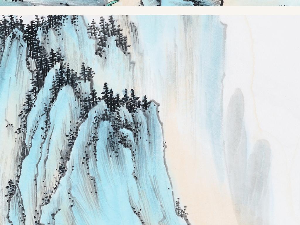 现代新中式国画水墨山水圆形装饰画图片下载 山水装饰画大全 新中式装饰画编号 19034781