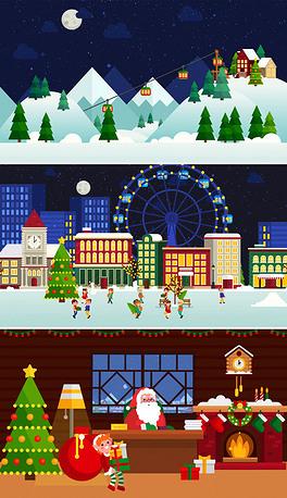 2019圣诞节卡通贺卡ppt新年祝福开场模板
