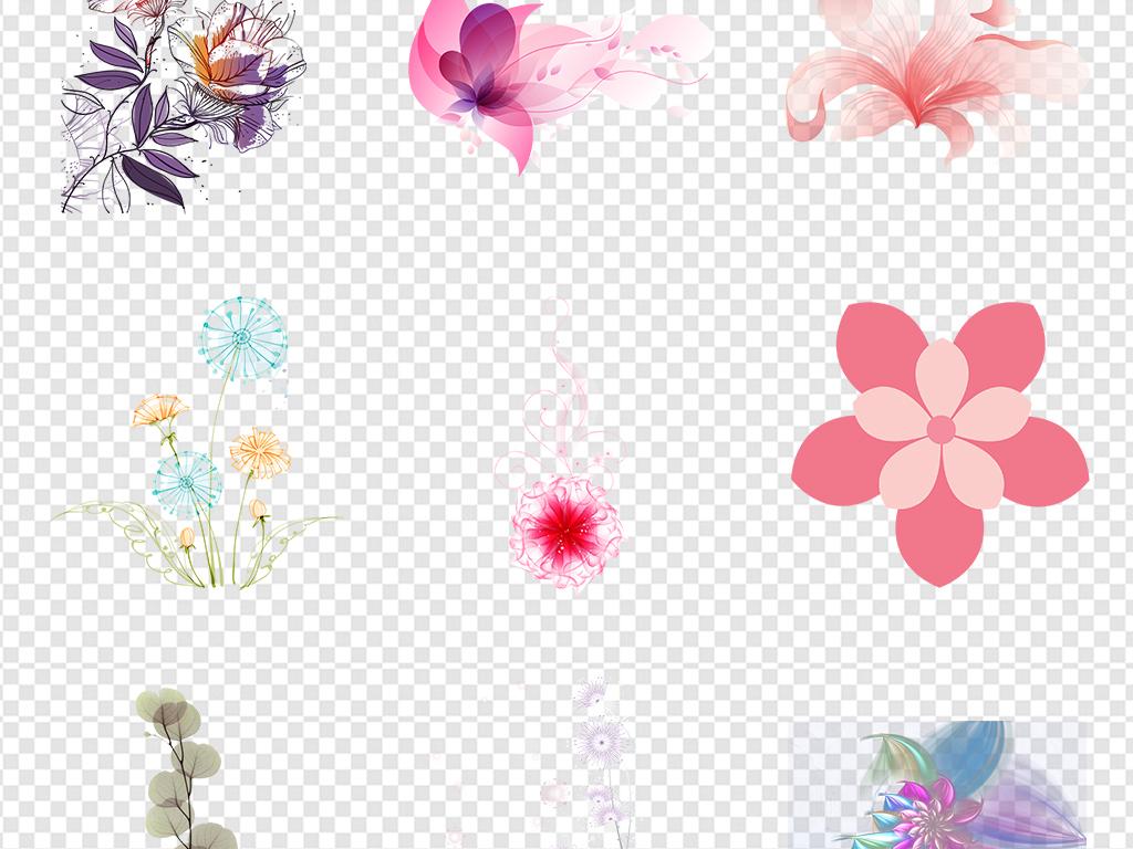 森系矢量花环玫瑰边框图片背景元素花纹花瓣免抠浪漫鲜花蓝色薰衣草粉