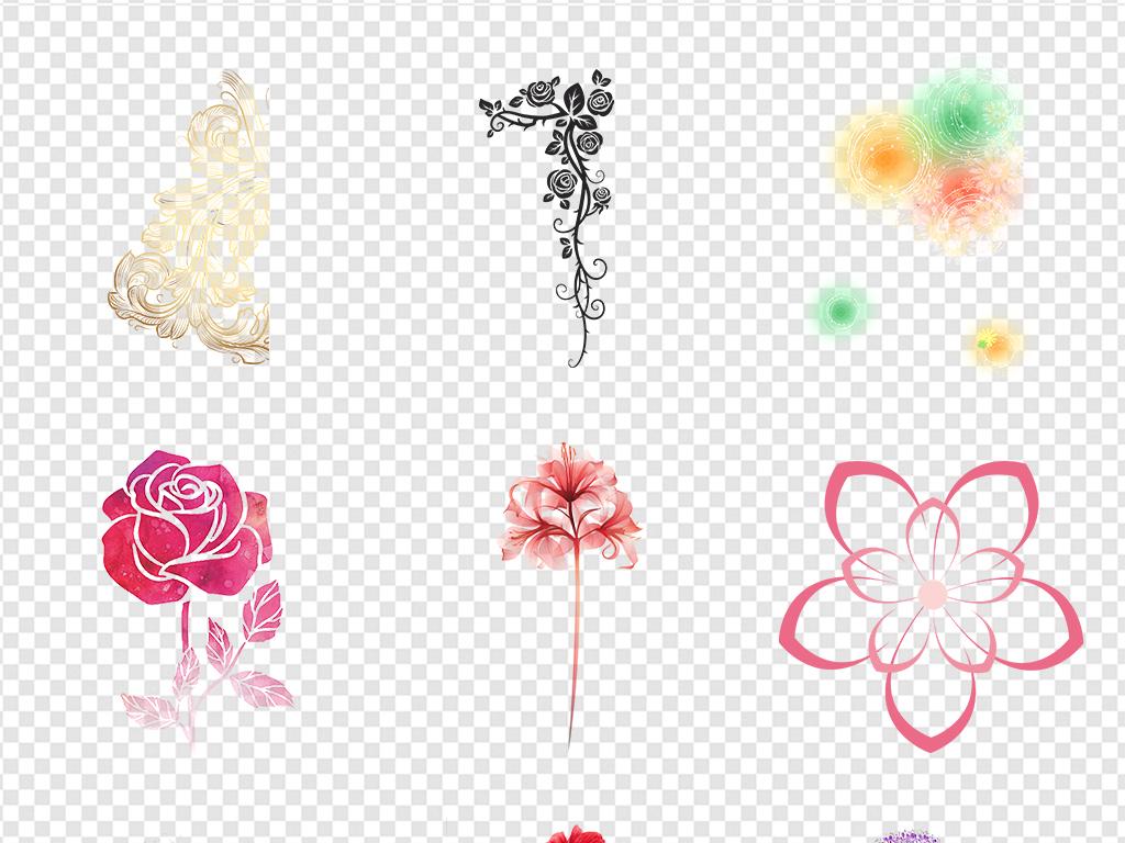 森系矢量花环玫瑰边框图片背景元素花纹花瓣免抠浪漫鲜花蓝色薰衣草