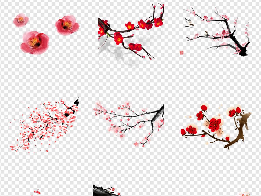 手绘红花古典边框装饰画红色花朵年货春节透明猪年灯笼水墨梅花中国风