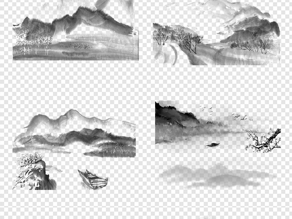 新中式自然远山流水png山水风景画古风山脉船素材云山雾罩免抠水墨