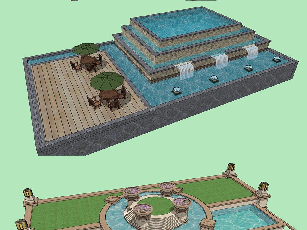 现代公园广场住宅小区别墅庭院水景喷泉水池景观小品模型图片