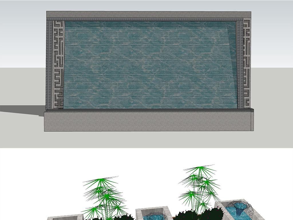 现代中式公园广场住宅小区别墅庭院水景喷泉水池景观小品图片