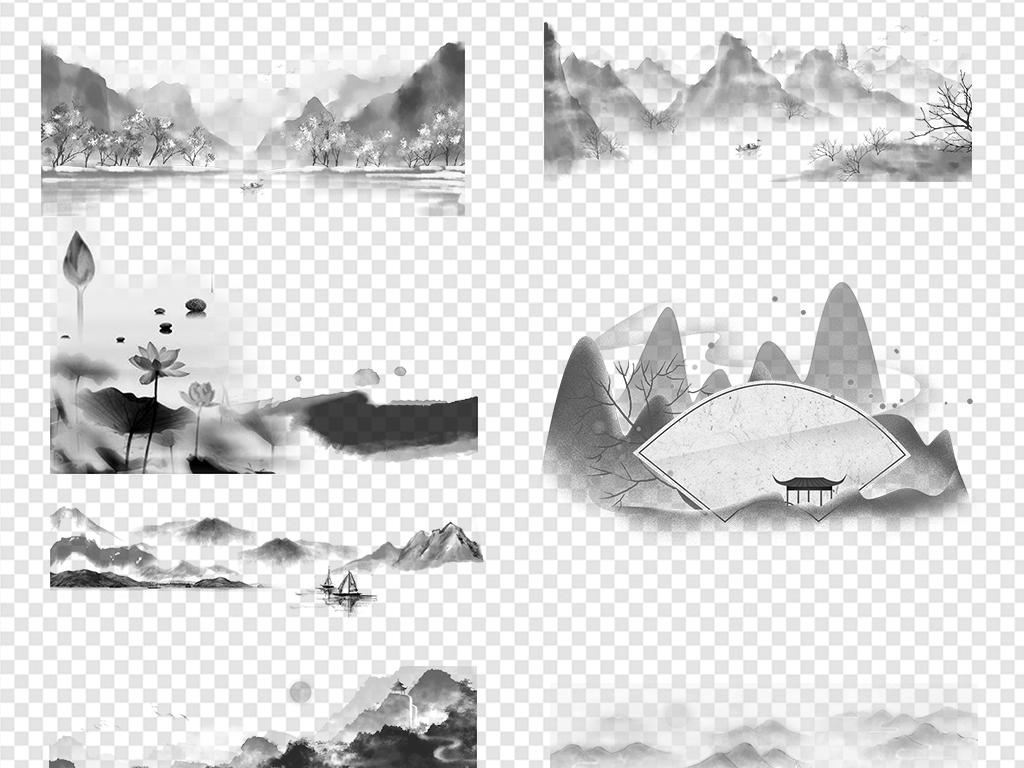 古风山脉船黑白水墨手绘毛笔古代风水墨山水山水中国素材山水背景水墨