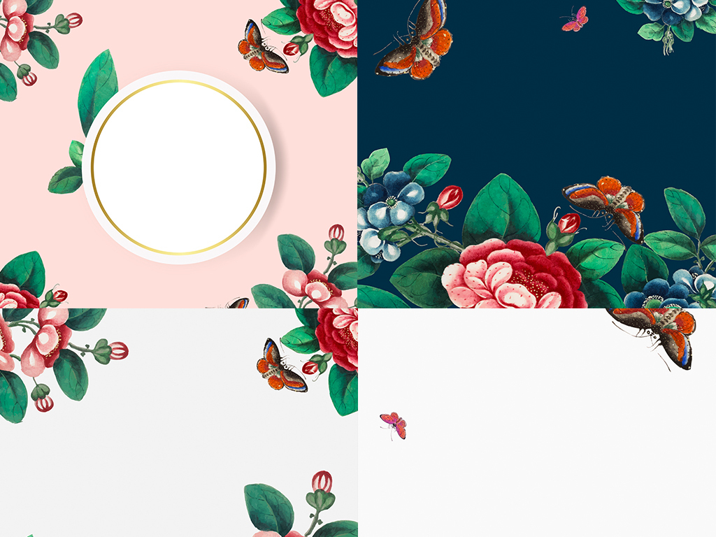 矢量eps中国风复古水彩手绘花鸟素材