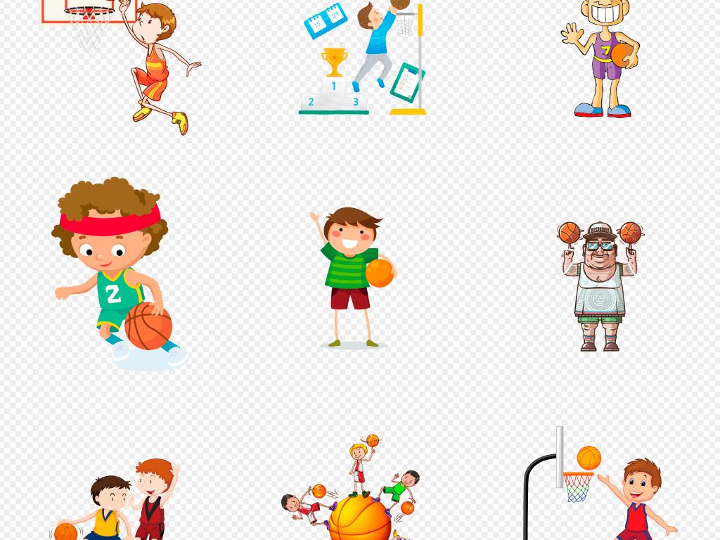 手绘卡通篮球运动员儿童篮球海报开学元素