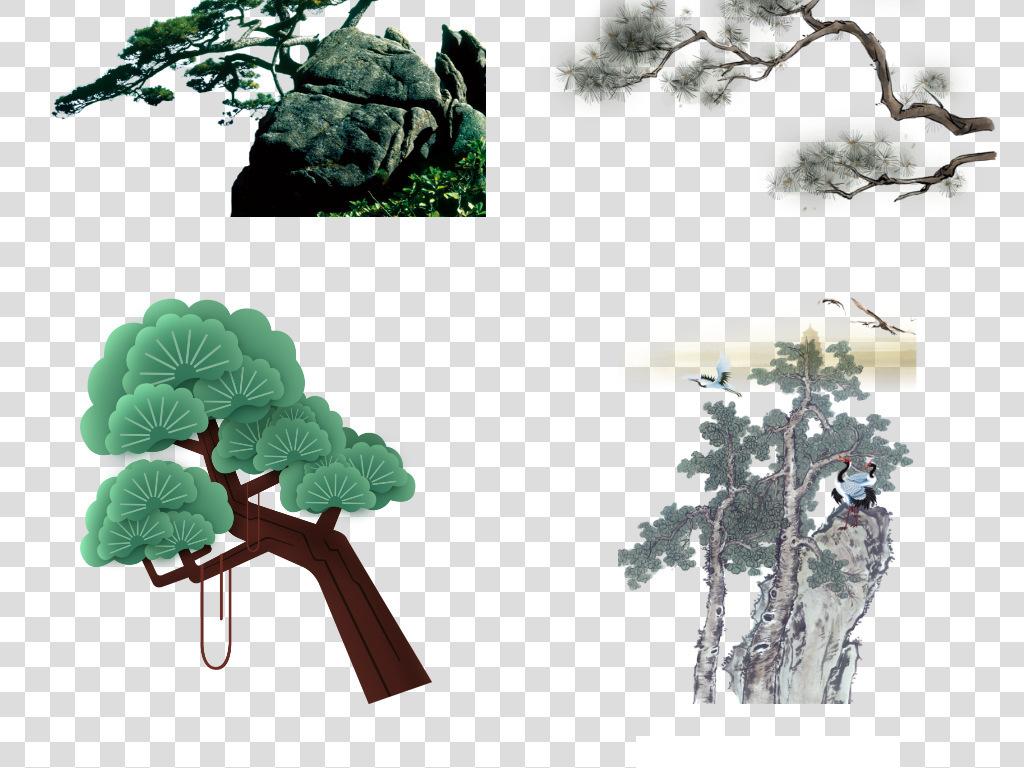 中国风手绘松树仙鹤松枝迎客松水墨画元素图片素材 模板下载 112.67MB 实物大全 自然图片
