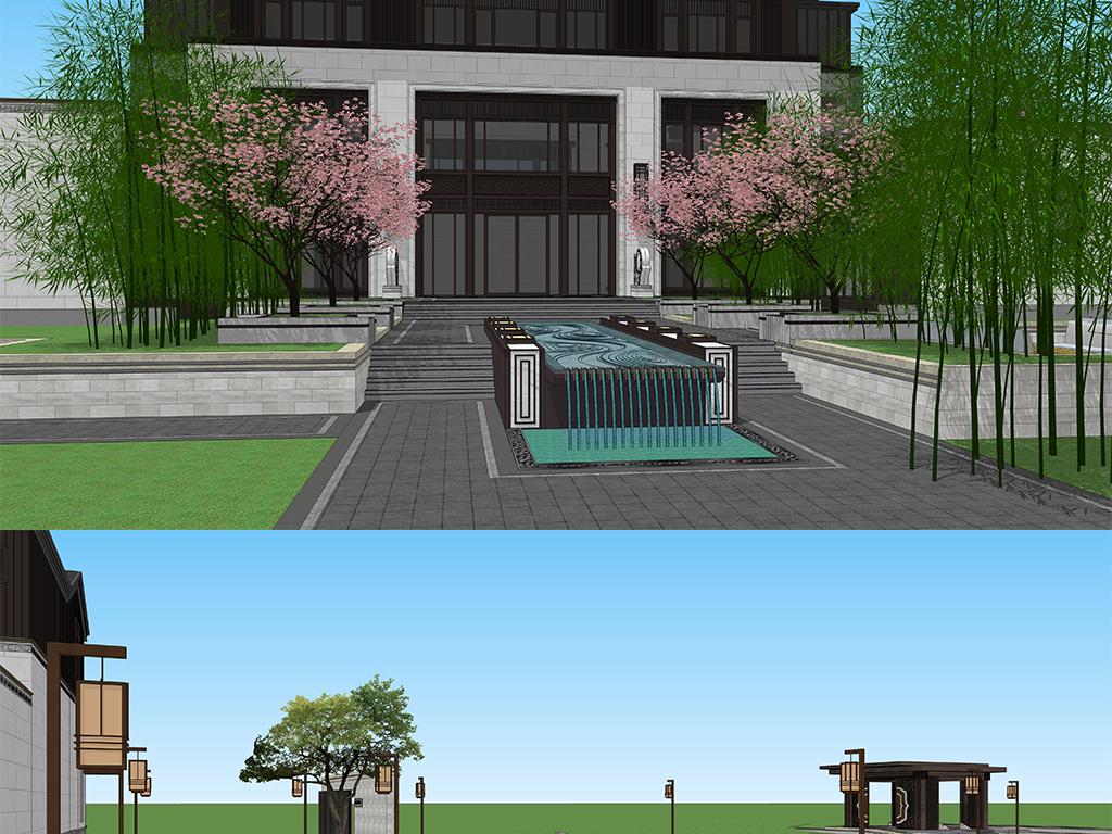 新中式所建筑中式户型模型景观设计su沙滩金别墅青岛图印象别墅庭院图片