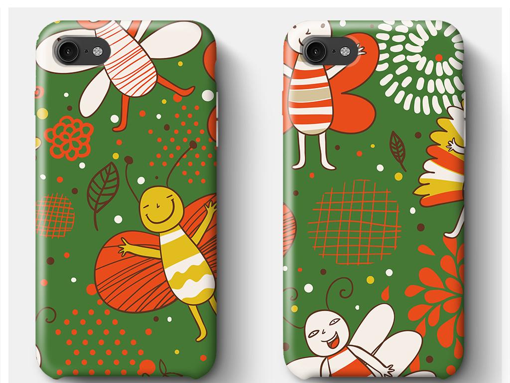 彩色绿色卡通蜜蜂可爱动物流行手机壳图案设计