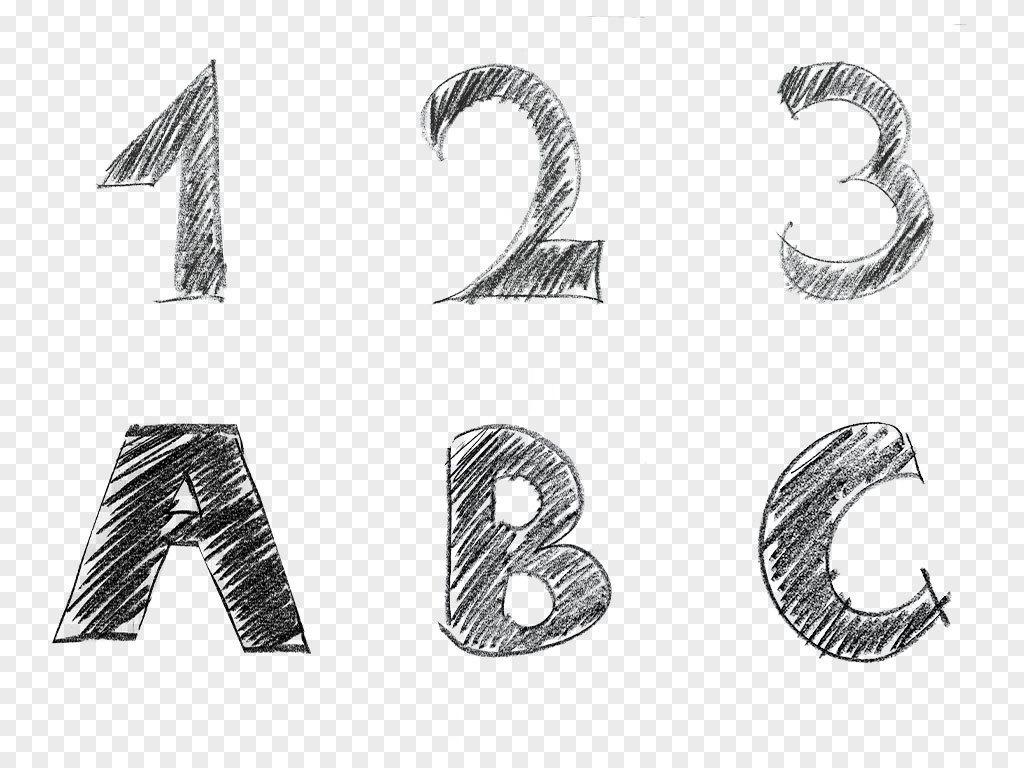 字体                                          手绘字母数字