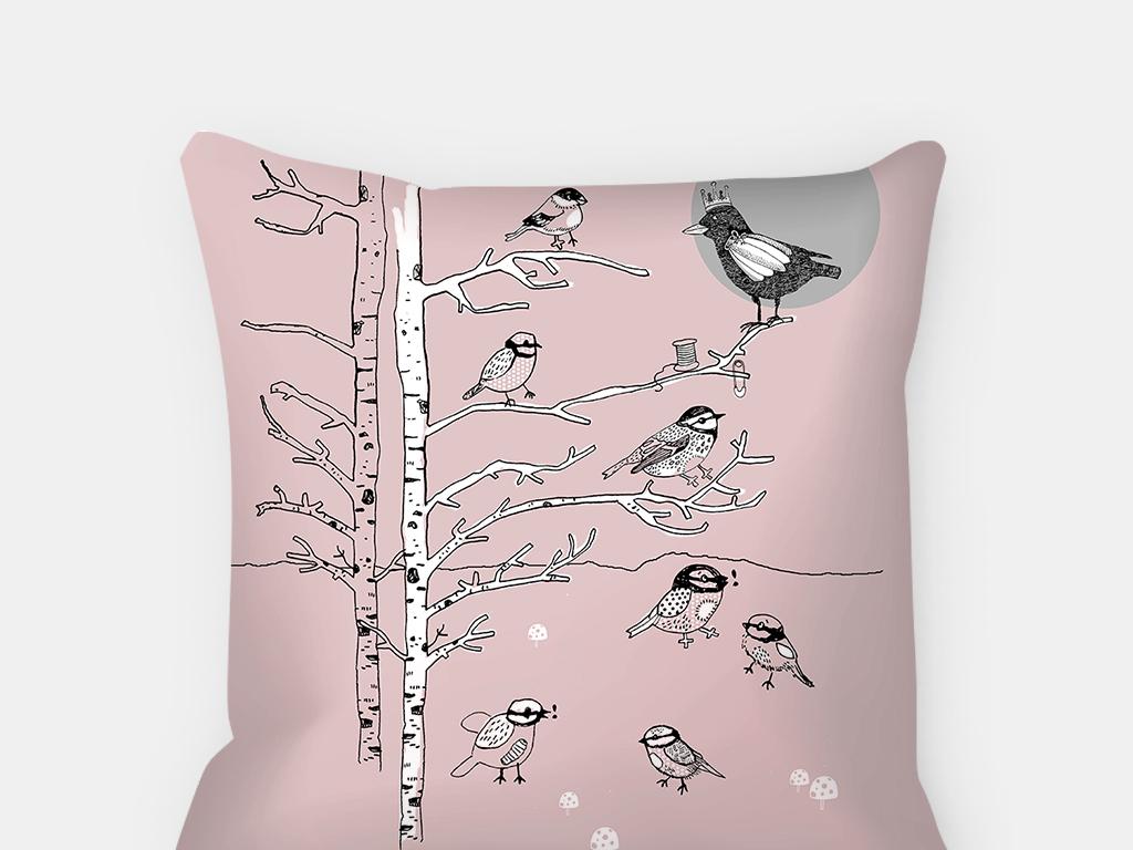 彩色卡通风景服装家纺抱枕面料图案设计