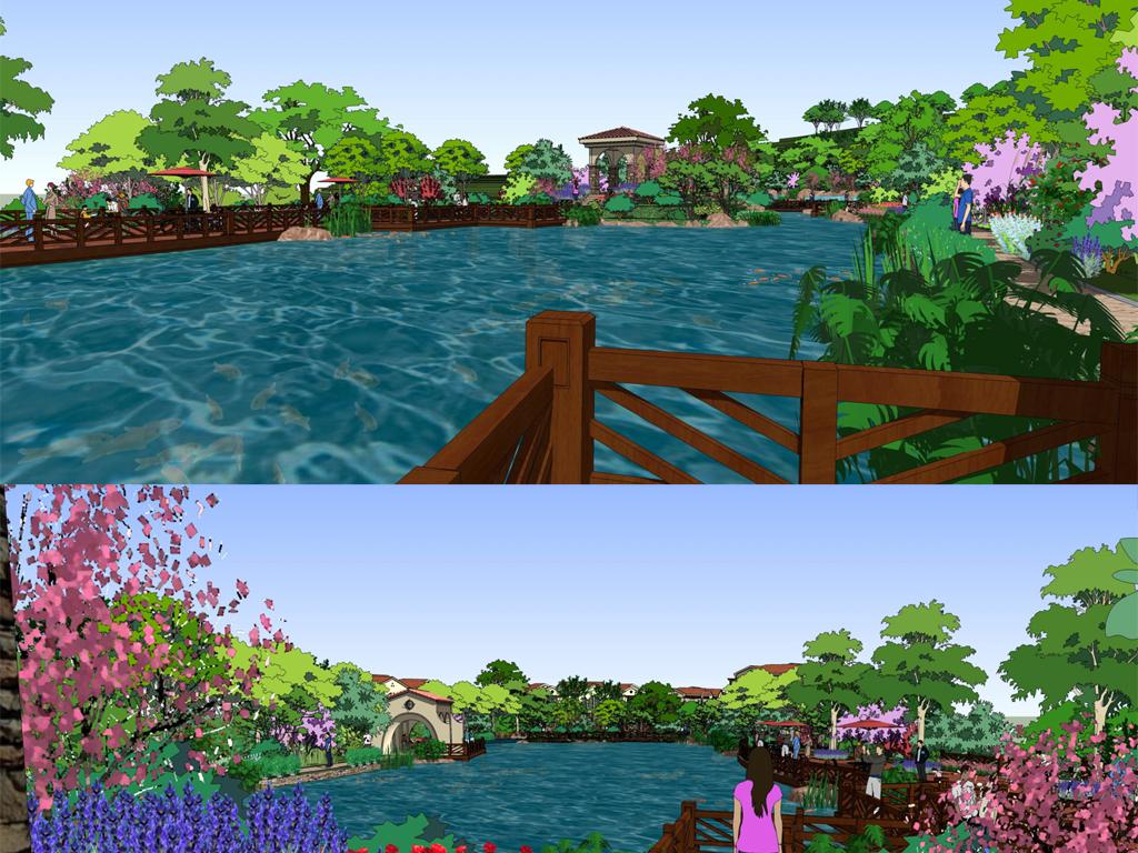 欧式山顶别墅区别墅区景观滨水景观设计图下载(图片38
