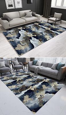 约复古抽象几何图形ins风卧室客厅地毯-简洁茶几图片素材 简洁茶几
