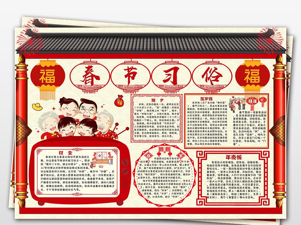 手抄报|小报 节日手抄报 春节|元旦手抄报 > 2019猪年春节习俗小报图片