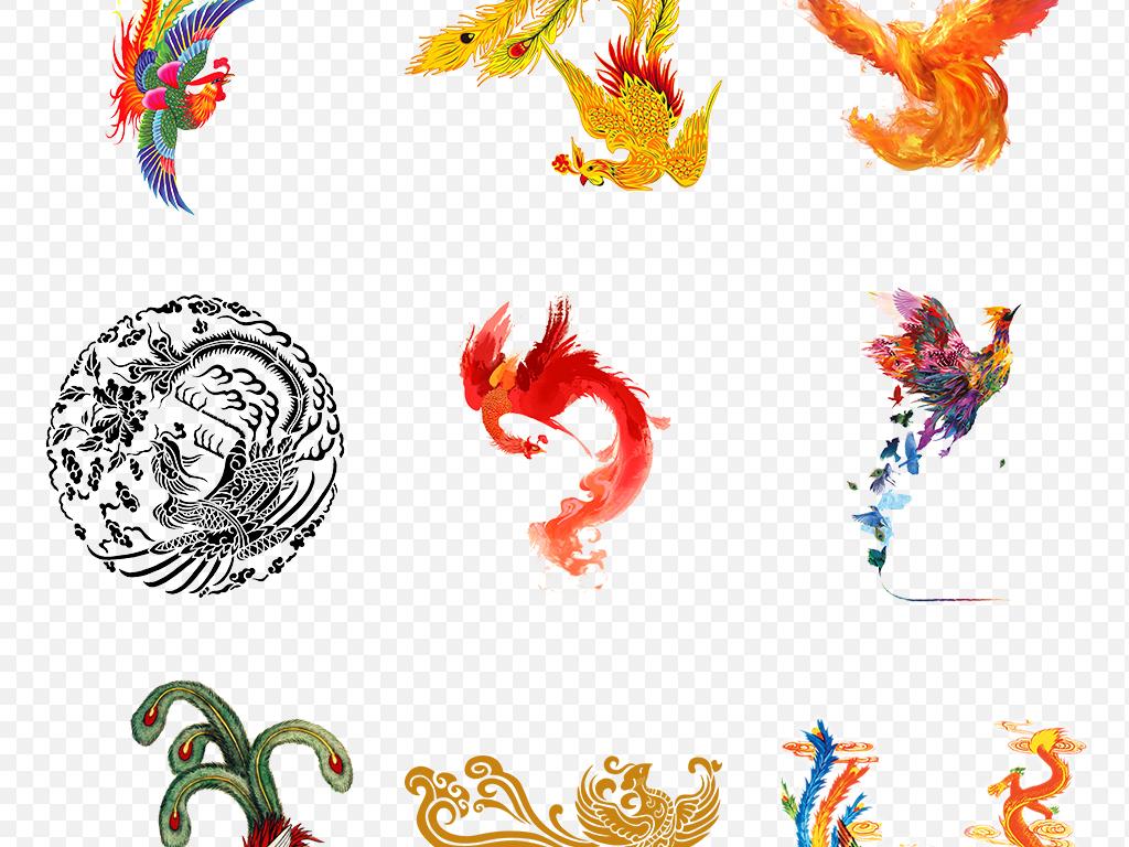 手绘红色火焰凤凰浴火凤凰海报素材背景图片png