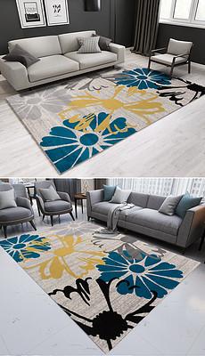 古抽象手绘花朵ins风卧室客厅地毯-手,脚图片素材 手,脚图片素材
