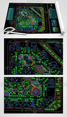某字体绿化CAD设计平面图的游设计小区图片