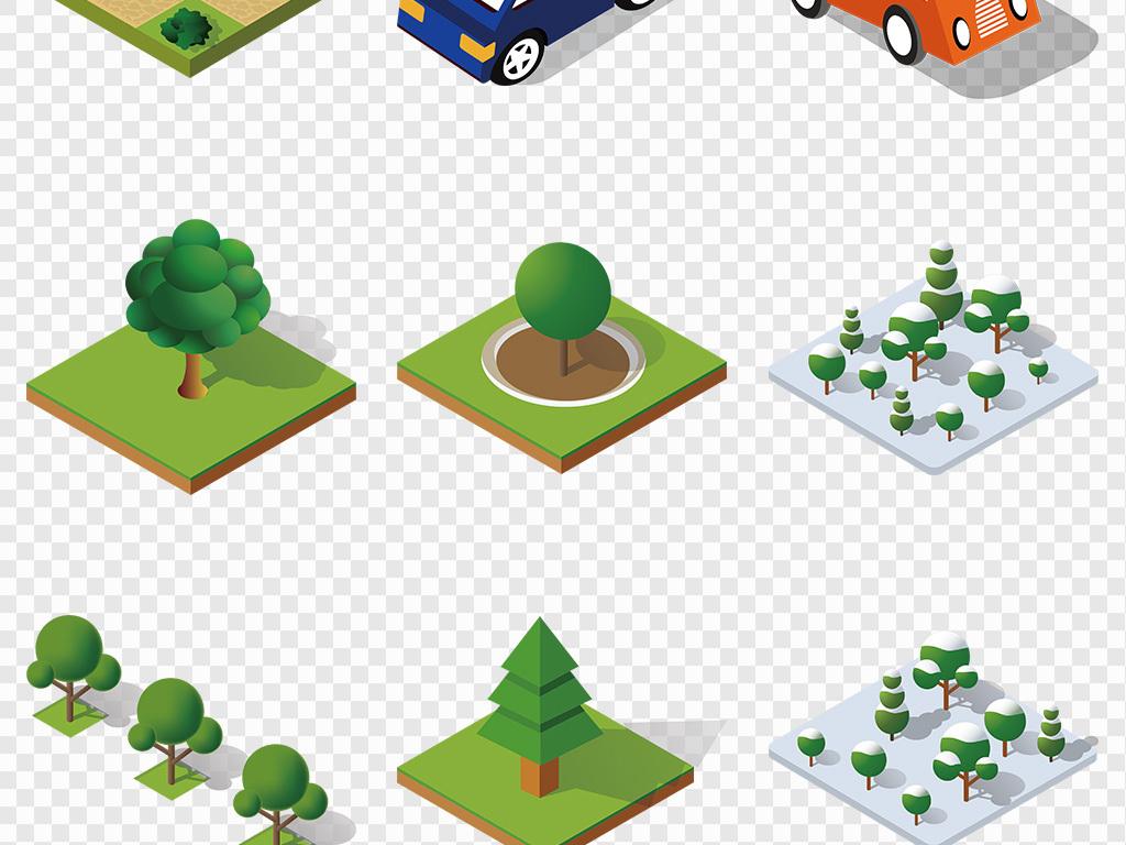 含AI 可爱手绘抽象卡通树大树海报骑车街道PNG图片素材 模板下载 12.96MB 其他大全 生活工作图片