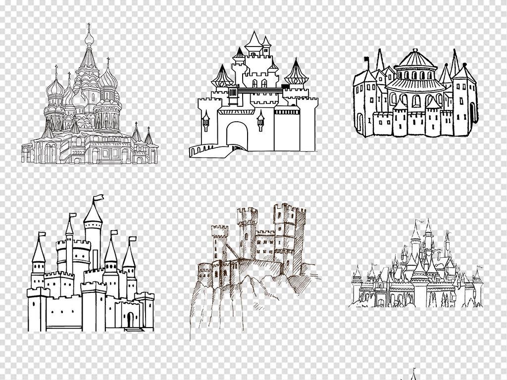 手绘欧式城堡建筑简笔画城堡png免抠素材图片 模板下载 11.37mb 城市建筑大全 生活工作