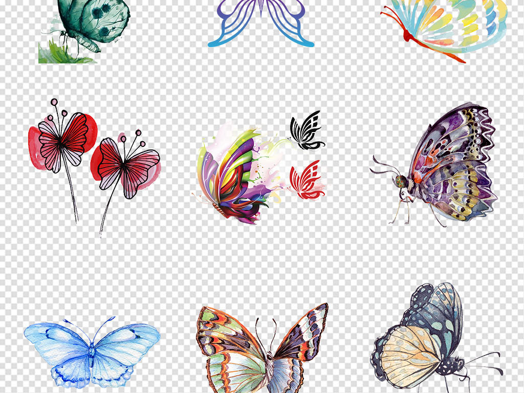 创意手绘黑白蝴蝶简笔画蝴蝶昆虫png素材