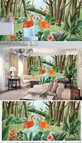 欧式手绘火烈鸟热带雨林背景墙-PSD背景英伦 PSD格式背景英伦素材