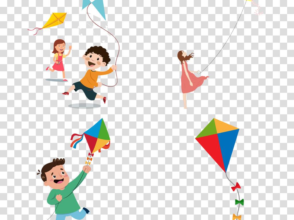卡通风筝图片手绘小孩放风筝png免抠素材