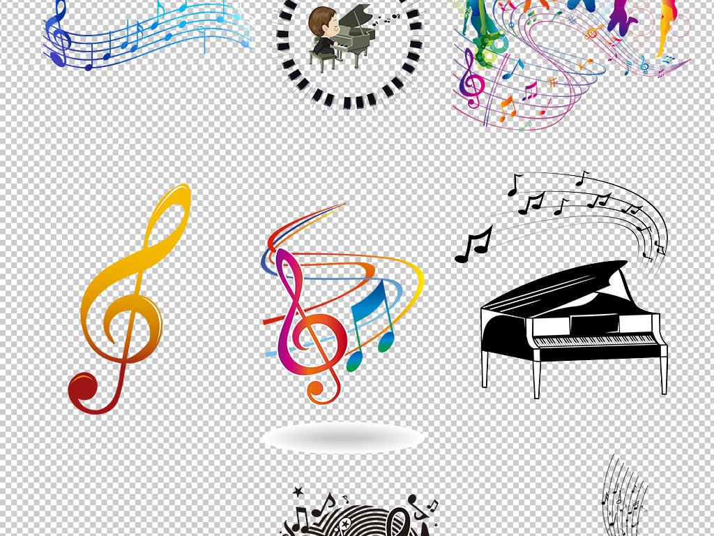 彩色手绘音符装饰