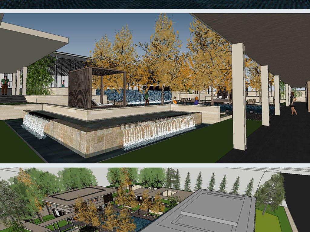 豪宅地产示范区景观设计方案 su模型 高清实景照片