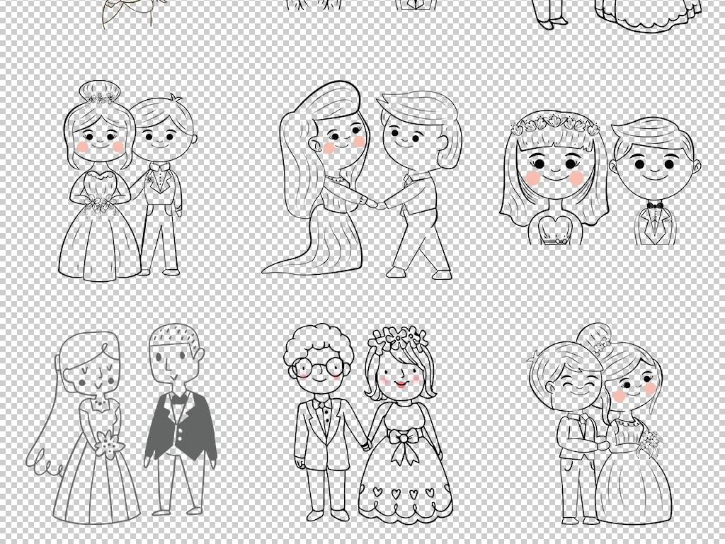 绘可爱卡通情侣夫妇简笔画PNG免抠元素图片素材 模板下载 45.13