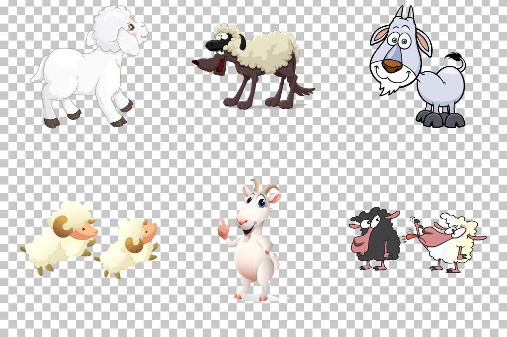 可爱手绘卡通小羊绵羊山羊png素材
