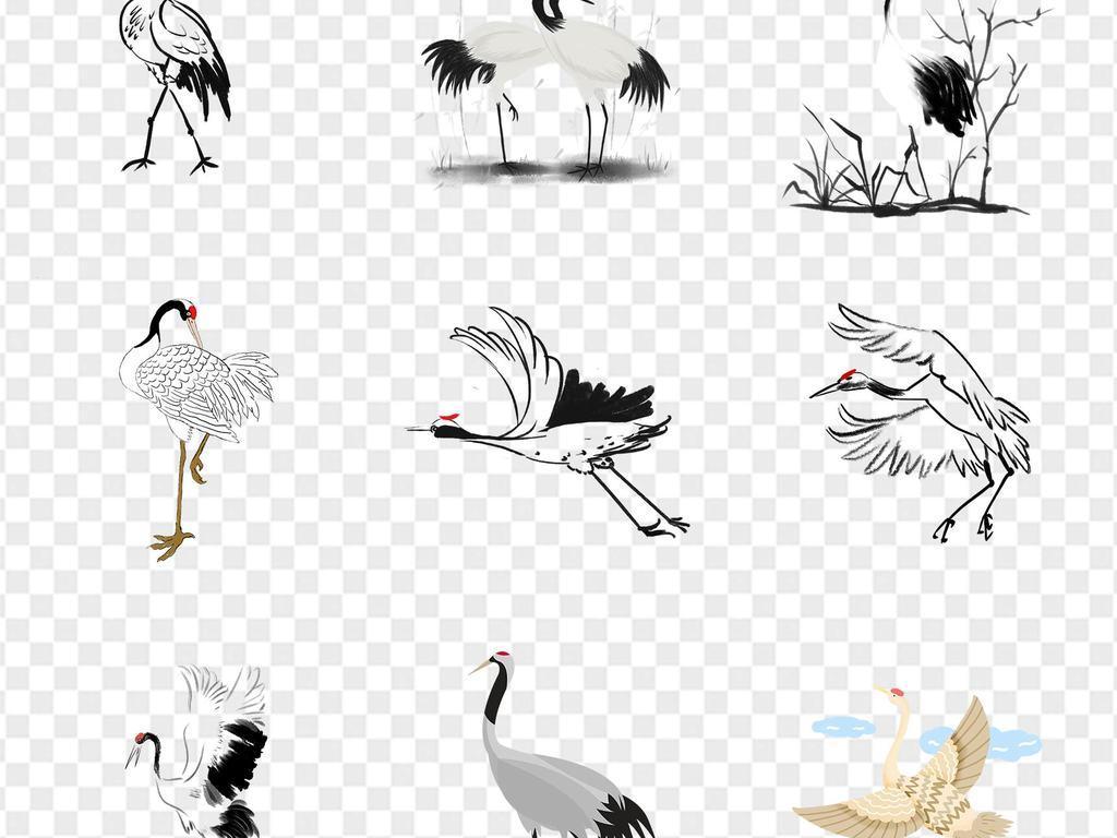 中国风古风水墨仙鹤丹顶鹤动物海报ppt展板免扣png素材