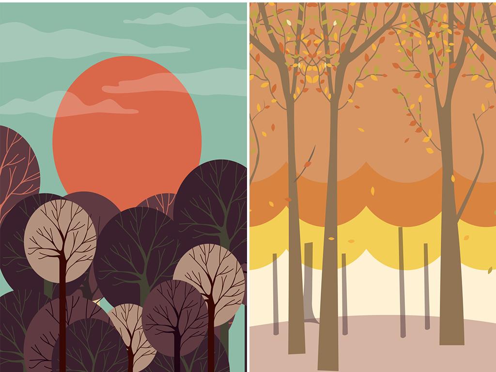 卡通手绘水彩文艺清新森林海报背景图