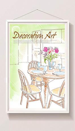 手绘线描现代风格家居装饰插画图片