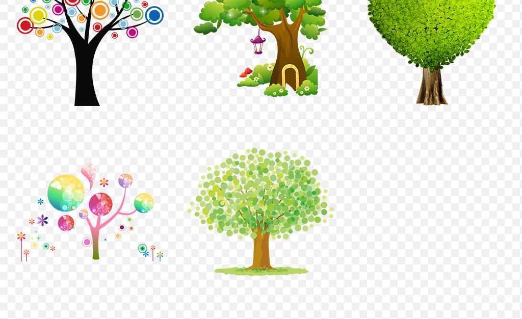 可爱手绘抽象卡通树大树海报素材背景图片png