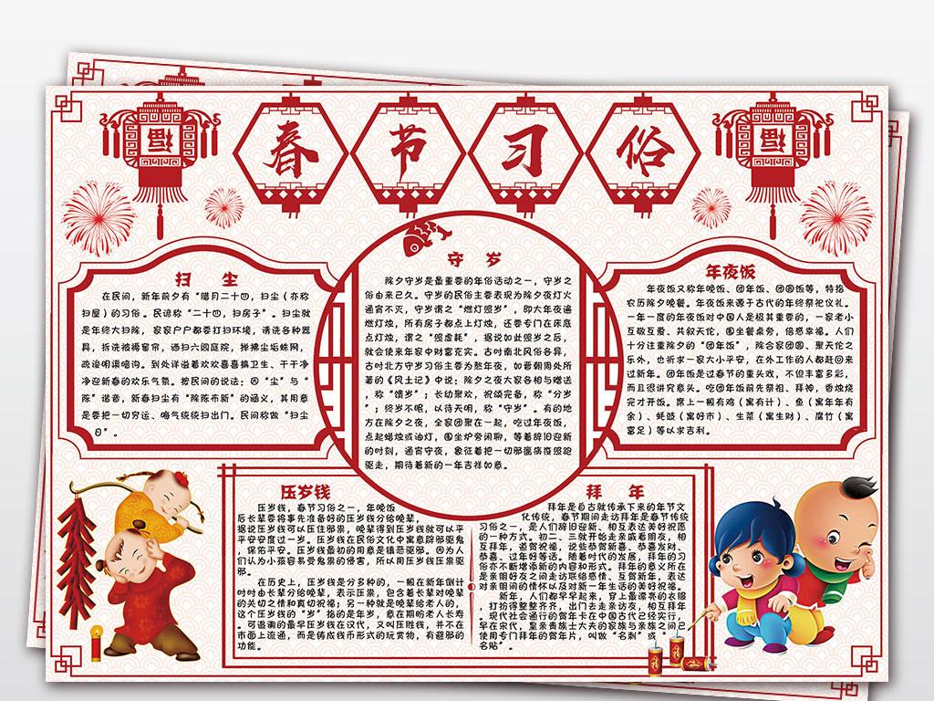 2019豬年春節習俗小報新年電子小報手抄報圖片