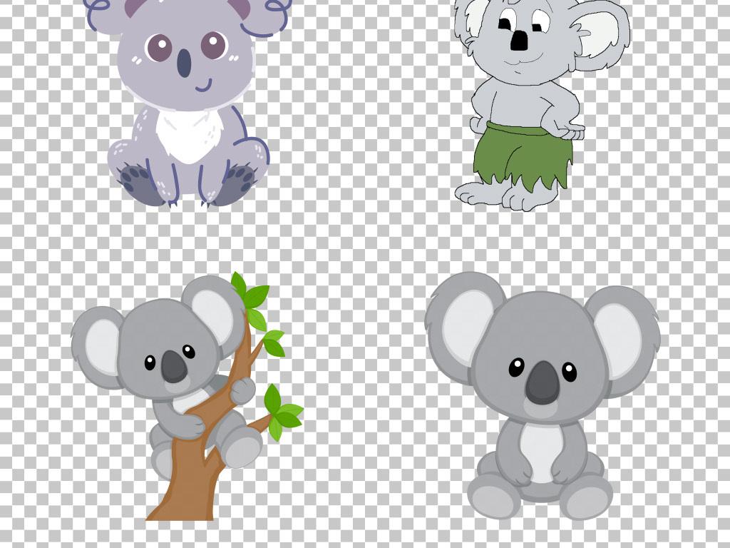 可爱手绘卡通小动物考拉png素材