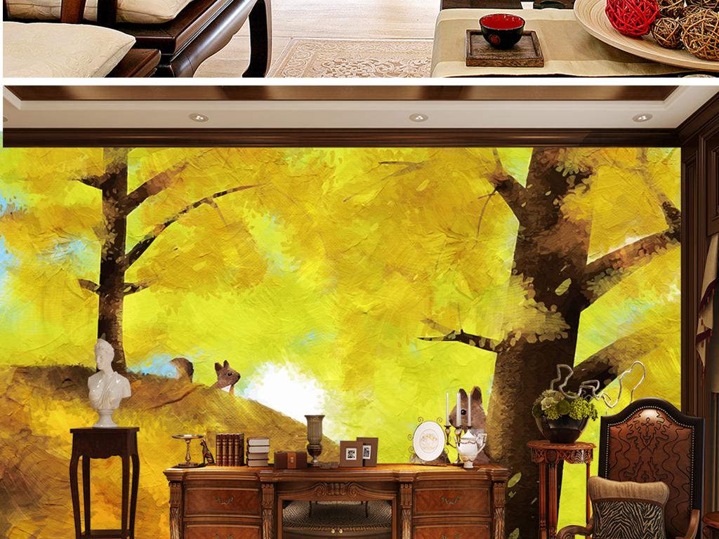 背景墙 电视背景墙 电视背景墙 > 手绘银杏树松鼠  素材图片参数