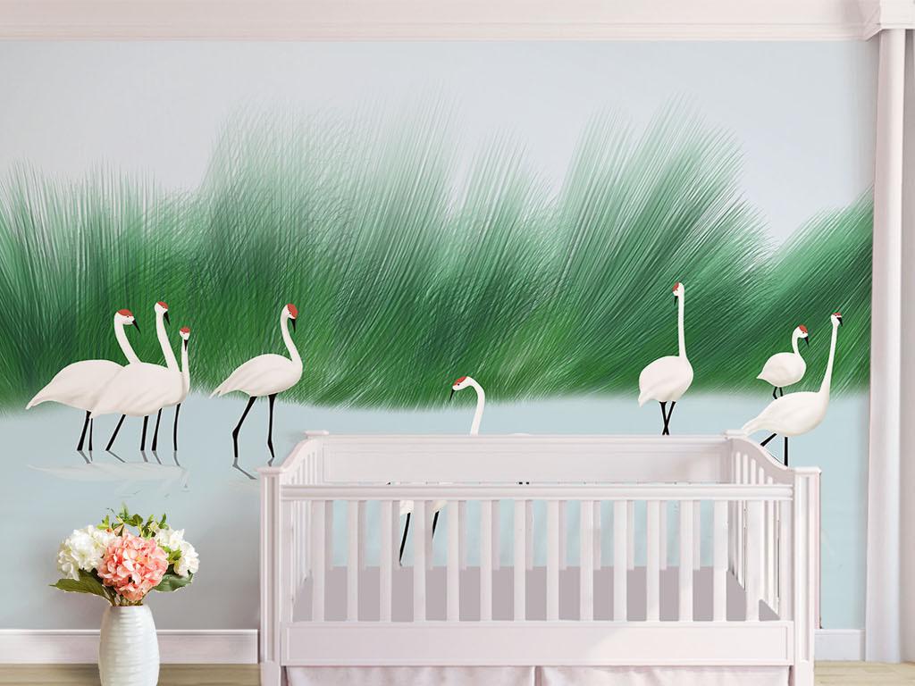 北欧风清新手绘丛林白鹤背景墙图片设计素材 高清模板下载 386.59MB