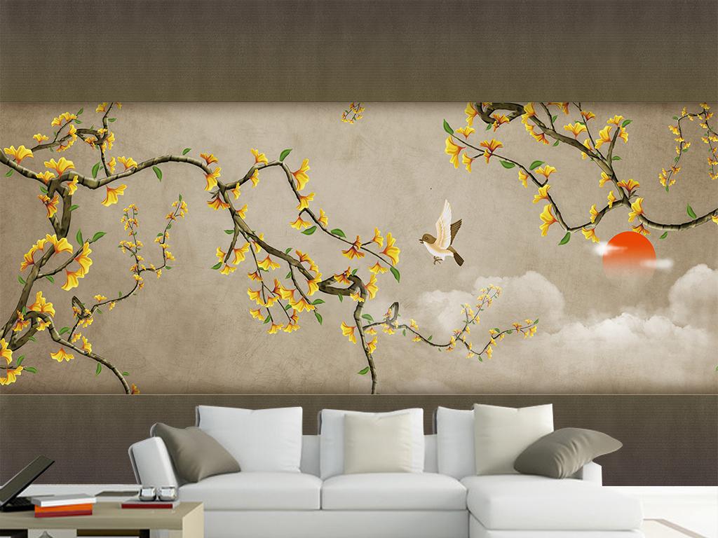 新中式手绘花鸟银杏树背景墙