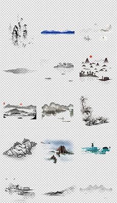 中国风水墨山水山脉远山海报素材背景图片PNG
