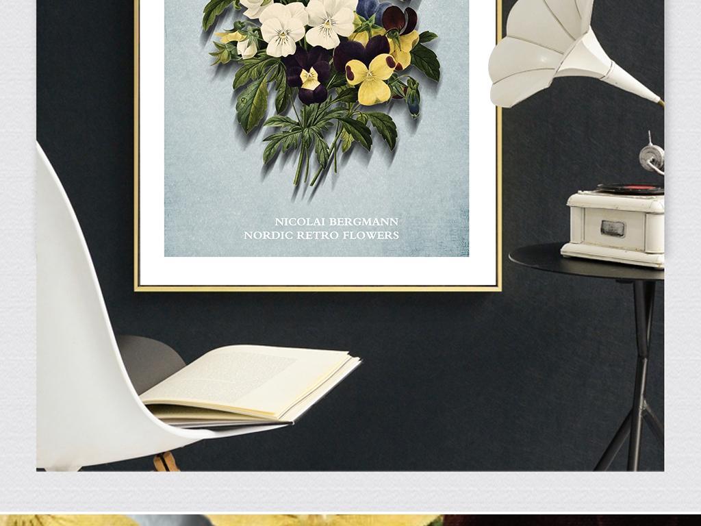 客厅新中式画复古花卉手绘画欧美复古装饰画图片下载 复古装饰画大全 美式装饰画编号 19141471