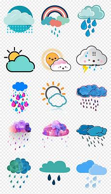 可爱卡通手绘天气下雨太阳多云预报png透明背景免扣素材