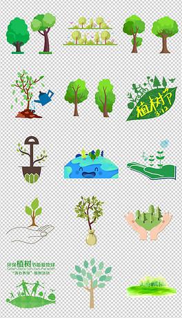 绿色卡通草地草坪花卉蝴蝶花草树木森林边框png素材