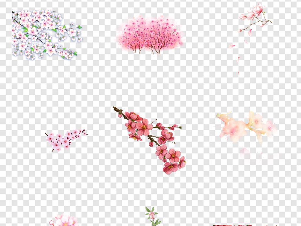 桃树花朵花瓣花枝古风水彩手绘粉色桃花图片素材 模板下载 33.18MB 其他大全 生活工作